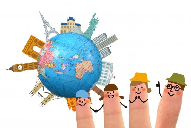 旅行イメージ ミニチュア 地球儀家族
